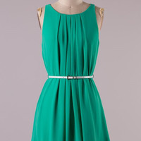 Pleated Front Belted Dress - Green