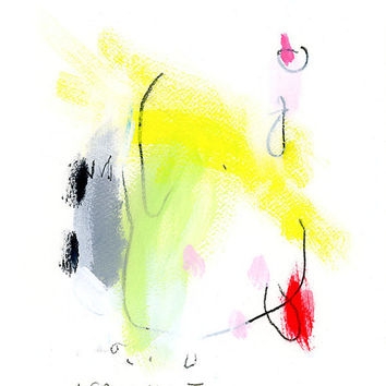 Original Abstract Painting Colorful pink lime green yellow gift for her 8x10 inches