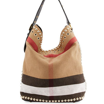 Burberry Ashby Medium Studded Check Canvas Hobo Bag, Black