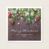 Rustic Country Christmas Holiday Party Paper Napkin