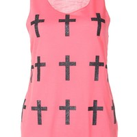 Crosses Print Casual Vest Top / Coral - Womens Clothing Sale, Womens Fashion, Cheap Clothes Online | Miss Rebel