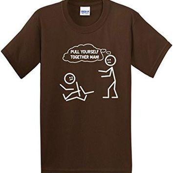 Pull Yourself Together Man! Novelty Sarcastic Funny Stick Figure Tee