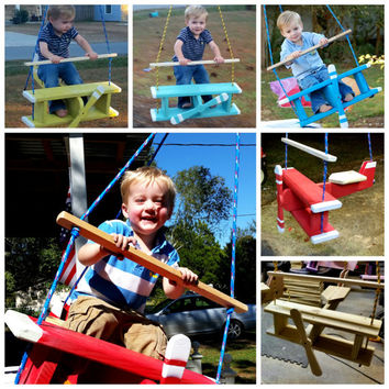 Airplane Swing, tree swing, porch swing, child swing, wooden toy, Airplane