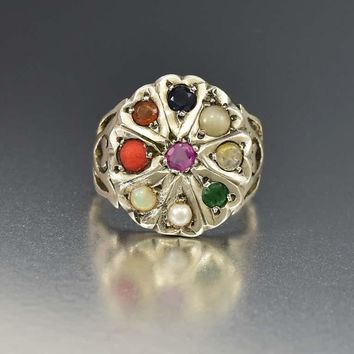 Fine Hungarian Gemstone Silver Heart Statement Ring