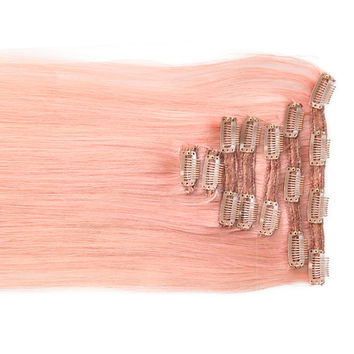 "Pretty Pink:  21"" Clip In 100% Human Hair Extensions"