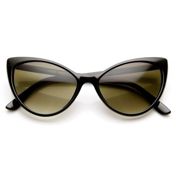 Womens 50's Fashion High Temple Oval Super Cat Eye Sunglasses