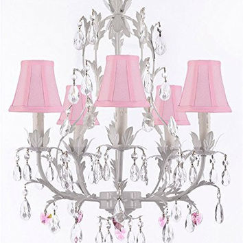 White Wrought Iron Floral Chandelier Lighting W/ Pink Hearts And Shades! - G7-Sc/Pinkshade/B21/White/407/5