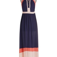 ModCloth Colorblocking Long Halter Maxi Move in Flow Motion Dress