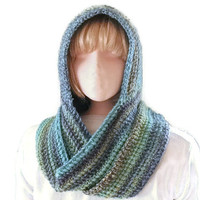 SCOODIE. Hooded Scarf  - Turquoise and Purple for Men and Women, Hood & Scarf All in One, Hoodie, Fashion Accessories, Winter Warmers Trend.