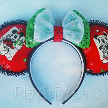 "Handmade ""Vintage Mickey & Minnie Christmas Presents Red"" Mouse ears headband inspired by Disney"