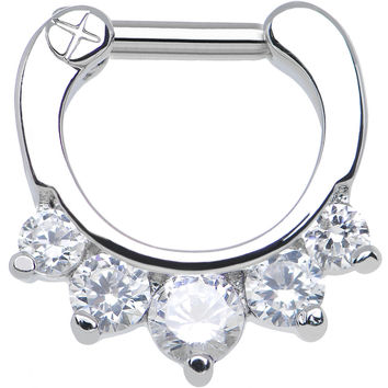 "14 Gauge 1/4"" Five Clear Cubic Zirconia Septum Clicker"