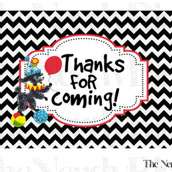 Black and White Chevron Circus Red, Yellow, Blue and Green Printable Birthday Thank You Card