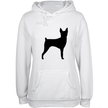 Toy Fox Terrier Silhouette White Juniors Pullover Hoodie