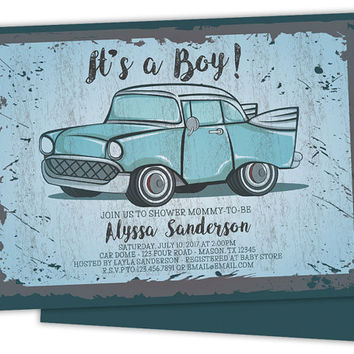 Best vintage boy baby shower products on wanelo vintage car baby shower invitations retro baby shower invitati filmwisefo