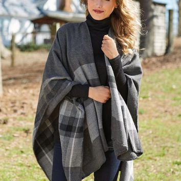 Rivington Plaid Ruana