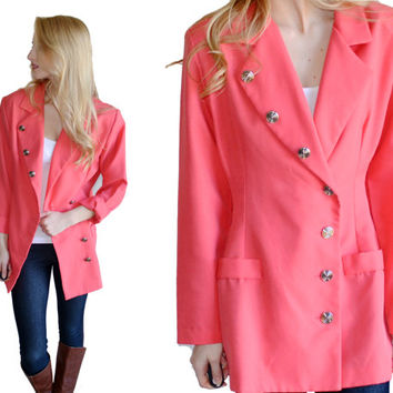 Vintage Coral Blazer With Silver Circle Swirl Buttons Womens Dressy Jacket Outerwear Bright Feminine Dressy Coat Classy