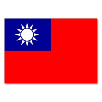 Patriotic table card with Flag of Taiwan