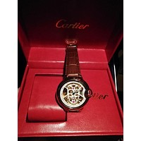 DCCK2 C001 Cartier Skull Hollow Automatic Machinery Leather Watchand Watches Maroon
