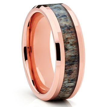 Deer Antler Wedding Band - Rose Gold Tungsten - Antler Wedding Ring
