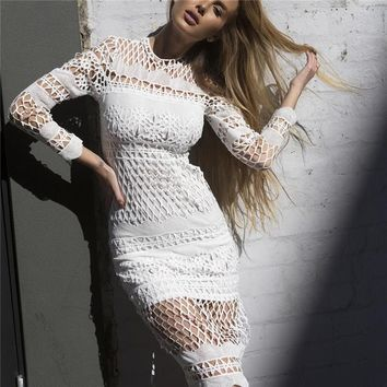 Hollow Out Lace Long Sleeves Knee-length Dress