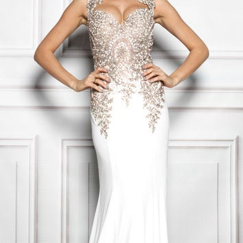 AURORA GOWN IN WHITW WITH GOLD
