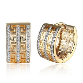 Thick Swarovski Crystal Micro-Pav'e Huggie Hoop Earrings Set in 18K Gold