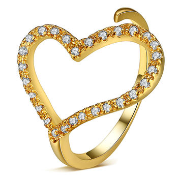 Jewelry New Arrival Gift Shiny Stylish Accessory Simple Design Heart Ring [4918319492]