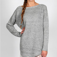 The Anabelle Lace Gray Sweater Dress