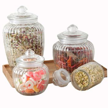Kitchen Glass Sealed Jars Lid Storage Bottle Food Candy Storage Tea Container Caning Sealing Mason Jars Household Storage Tool