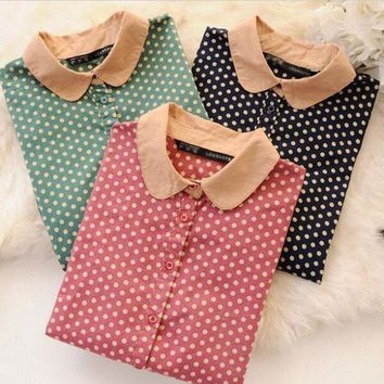 Women's Polka Dot Vintage Blouse