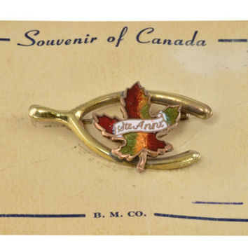 Vintage Souvenir of Canada Pin - Copper. Gold Tone and Enamel - B.M.Co. - Lucky Charm Pin, Souvenir of Canada Brooch - Maple Leaf Pin