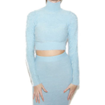 Fuzzy Mock Neck Sweater and Pencil Skirt Set in Light Blue