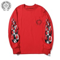 Chrome Hearts hot lip print casual couple hoodies Red