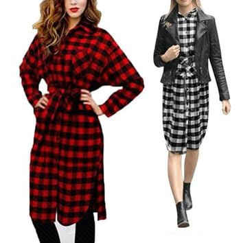New 2017 Women Boyfriend Long Sleeve Lapel Collar Dresses Grid Plaid Flannel Shirt Dress Loose Long Blouses Vestidos Party Dress