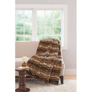 Better Homes and Gardens Mixed Leopard Faux Fur Throw 50 in X 60 In