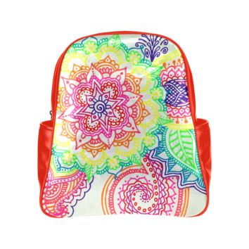 Personalized Backpack Rainbow Mandala Paisley Pockets Unisex Classic School Bag