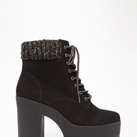 Suede Lace-Up Platform Booties