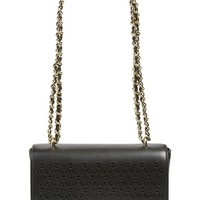 Tory Burch 'Robinson' Perforated Leather Shoulder Bag - Black