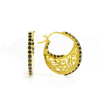 Small 14K Gold Plated Sterling Silver Hoop Earrings with Signature Design with Black Onyx