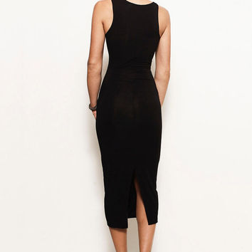 HOLLY- Asymmetrical Tank Midi Dress Bodycon Jersey LBD, Black (Michael Kors, Ralph Lauren, AllSaints, Helmut Lang, Rick Owens, BCBG)