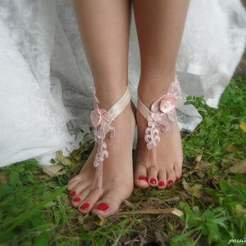 beach wedding,pink lace bridal barefoot sandals