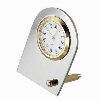 Personalized Free Engraving Silver and Gold Tone Desk Clock