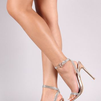 Patent Rhinestone Glitter Accent Ankle Strap Pointed Open Toe Heel