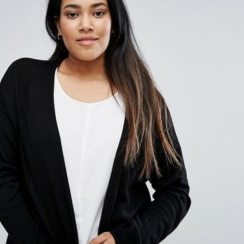 ASOS CURVE Cardigan In Fine Knit With Rib Detail at asos.com