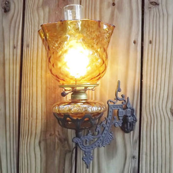 Vintage Amber Glass Gas Lamp Shade Electric Burner Cast Iron Wall holder Sconce