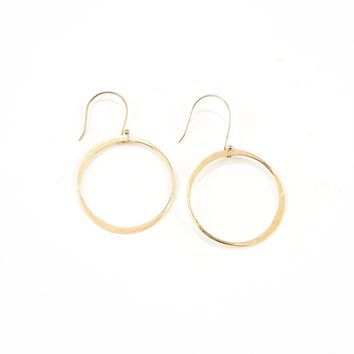 Simple Hoop Dangle Brass Earrings