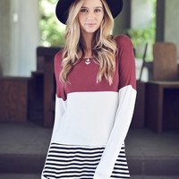 Burgundy Colorblock Top with Crochet Back  RESTOCK