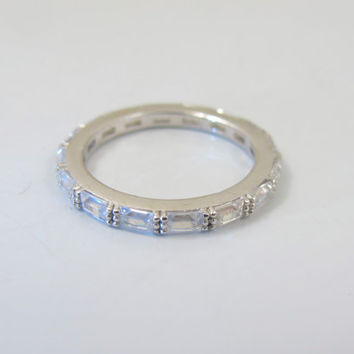 Vintage CZ Eternity Wedding Band Ring, Sterling Silver Diamond Cubic Zirconia Baguettes, Stacking Bridal Wedding Band Rings, Size 6