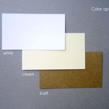 2 x 3.5 Inch Blank business card / Kraft/ Cream/ White Flat Note Cards/ Blank cardstock inserts/ Various colors set of 20