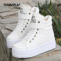 SWYIVY Winter Ankle Snow Boots Woman High Top Platform Female Snow Boots Casual Shoes Velvet Warm White Sneakers Winter 2018